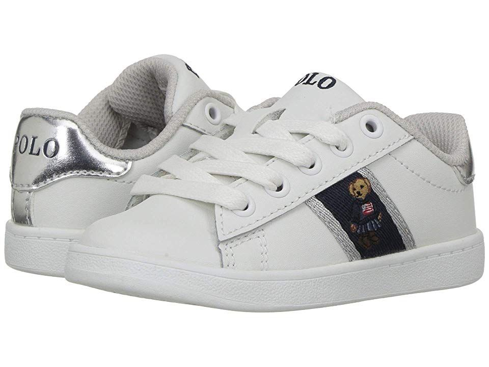 90820a89b32 Polo Ralph Lauren Kids Quilton Bear (Toddler) (White Leather/Silver  Striping/American Girl Bear) Girl's Shoes. Keep their classic look  up-to-date with the ...