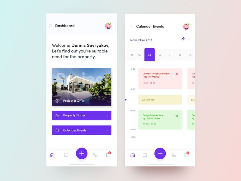 Broker Property App Exploration Property Finder App Calendar App