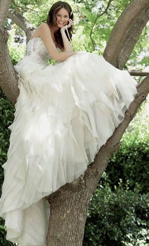 because all brides sit in trees easily in huge, white dresses.