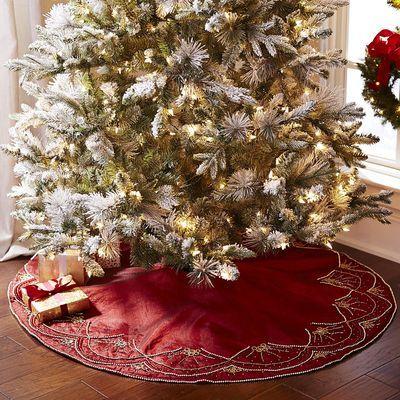 Beaded Scalloped Tree Skirt - Red  Gold Christmas  Winter