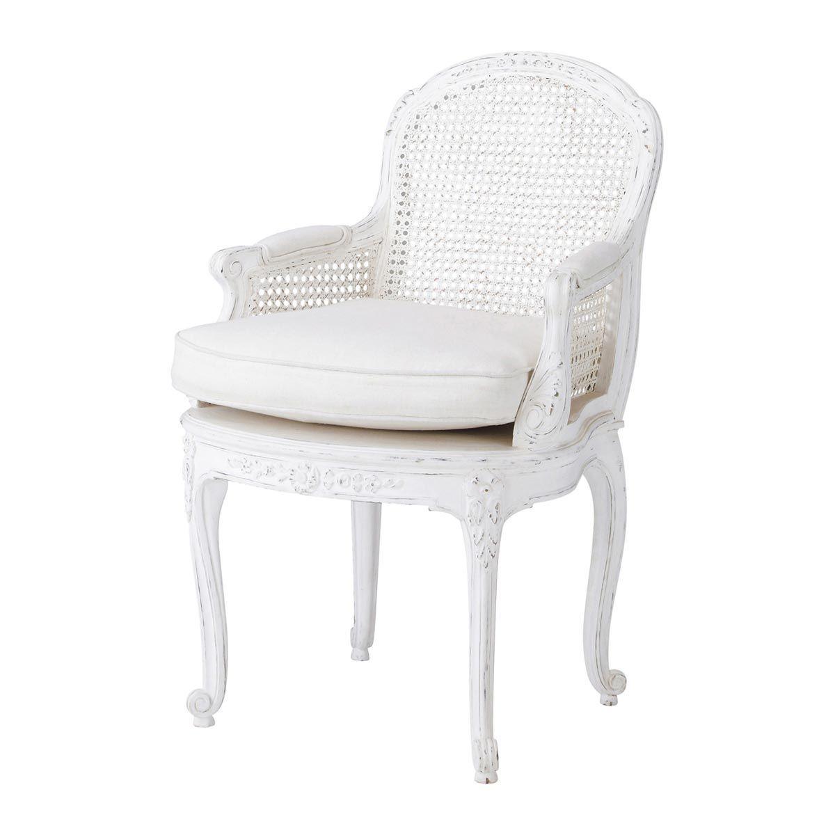 Round Wicker Chair, White Armchair, Furniture
