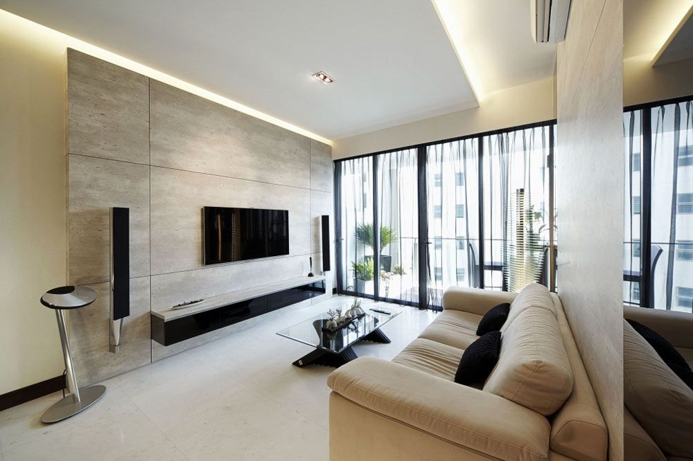 Dunearn Modern Condominium Interior Design Living Room With
