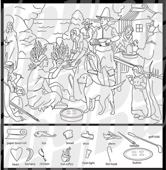 photograph regarding Thanksgiving Hidden Pictures Printable titled Initial Thanksgiving Concealed Shots Puzzle Merchandise Concealed