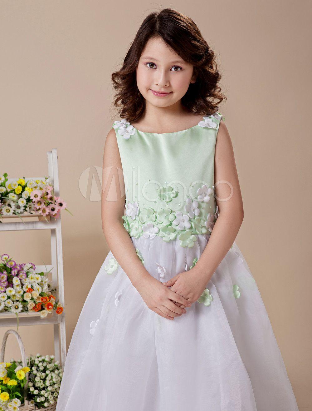 04a926cf9bb Beauteous White A-line Jewel Satin Floor Length Flower Girl Dress  Jewel