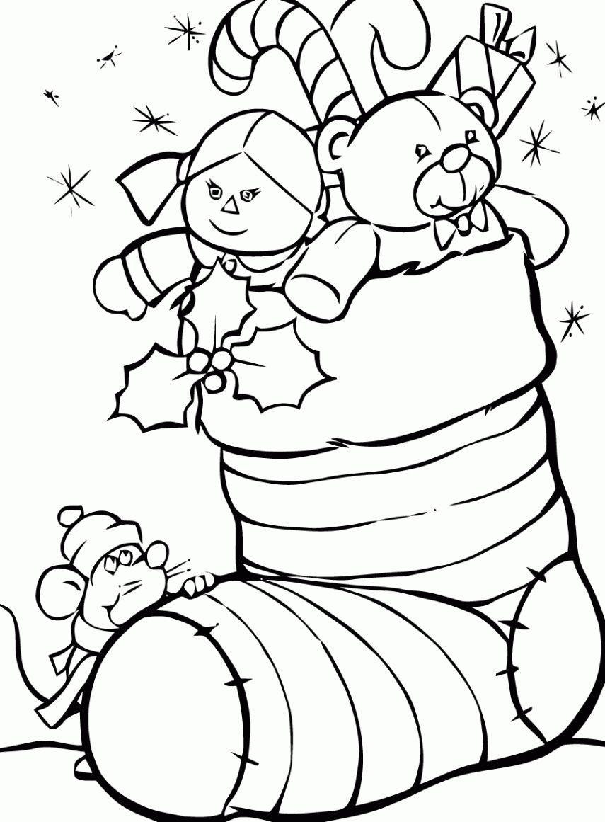Coloriage Chaussette Noel   KBACHA.| KBACHA.| Christmas