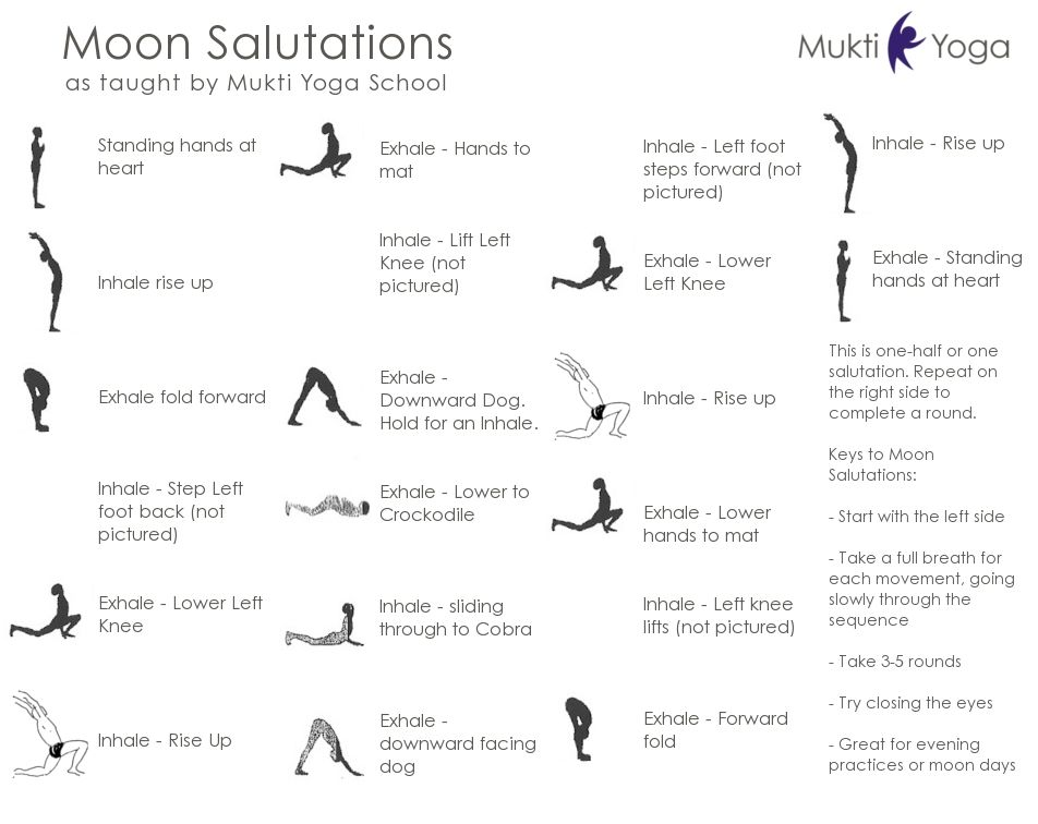 Moon Salutation Lovely Sequence For The End Of The Day Moon Salutation Kripalu Yoga Yoga Routine