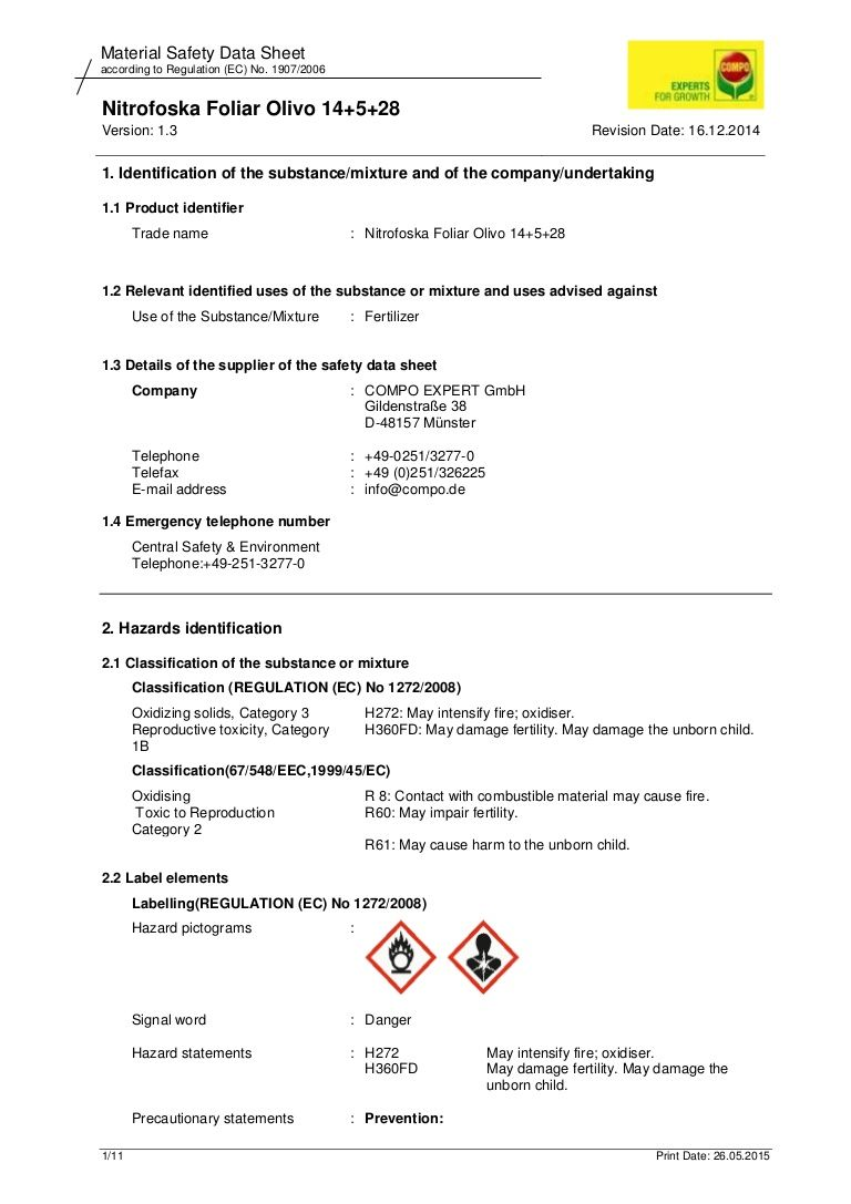 Pin by Compo Expert Hellas on Material Safety Data Sheet