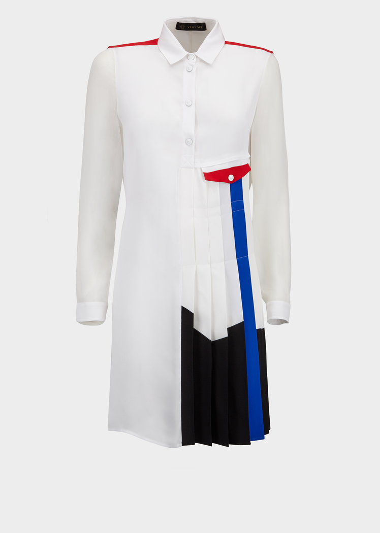 Versace Contrast City Stripes Shirt for Women | Official Website. This relaxed fit button up collared shirt with contrast color blocking mixes bold colors and textures...