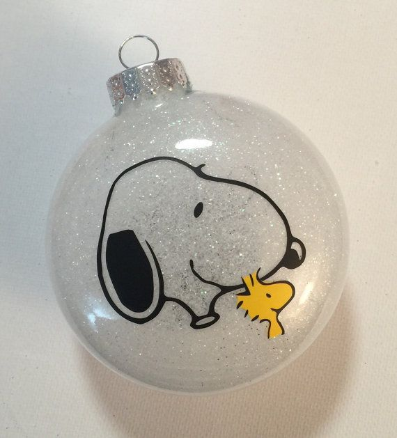 Peanuts Charlie Brown Inspired Snoopy Woodstock Christmas Glitter ...