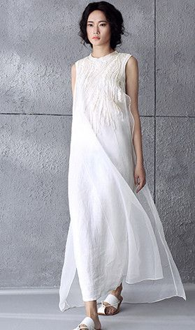 White Embroidered High Low Linen Dress Big Boho Saty Obleceni