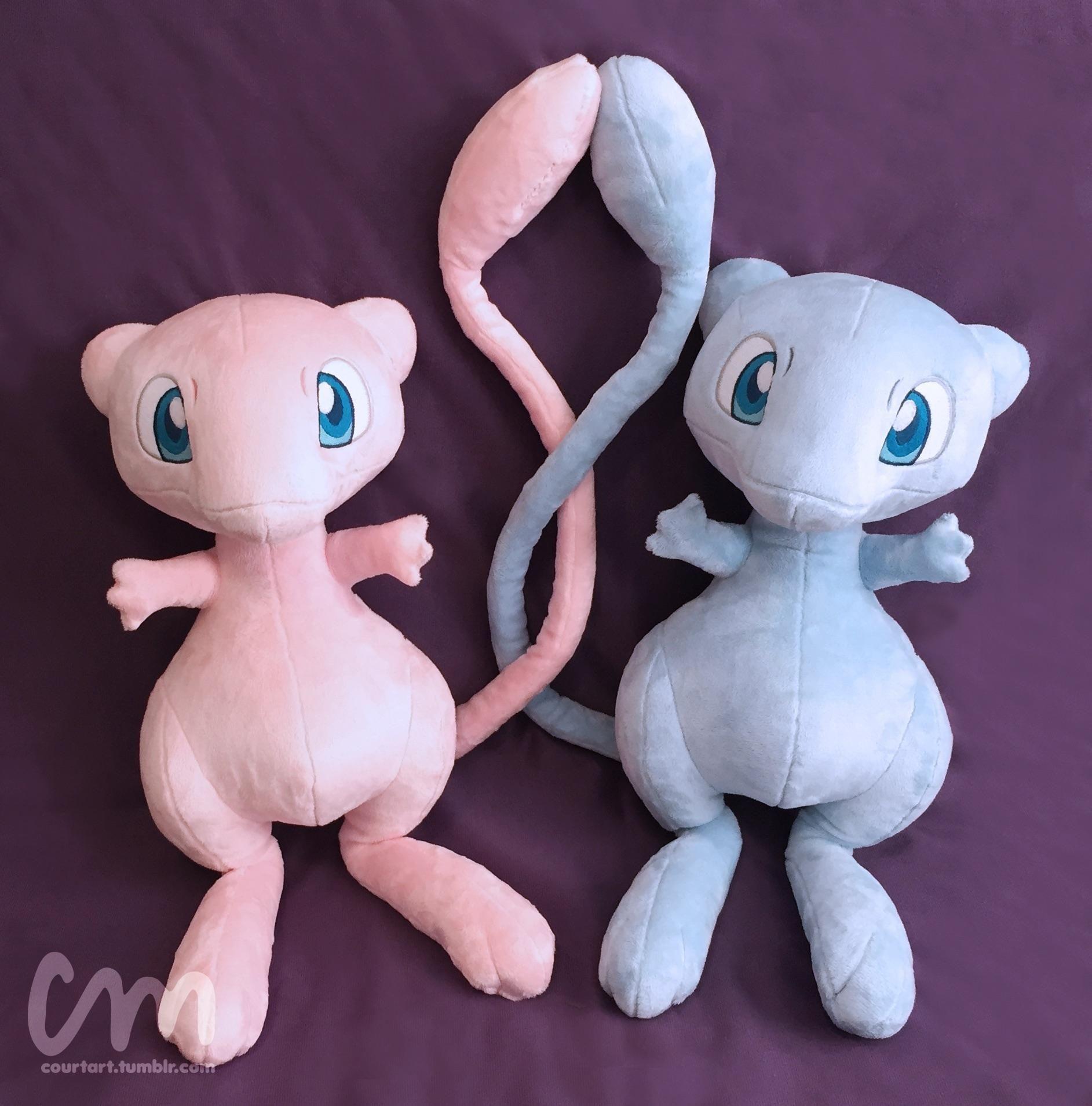 Custom Life Size Mew And Shiny Mew Plush With Posable Tails Mew Plush Pokemon Stuffed Animals Shiny Mew [ 1909 x 1885 Pixel ]