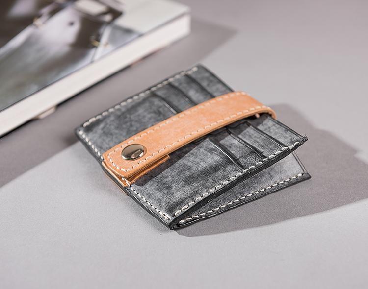 Handmade Leather Mens Cool Short Wallet Card Holder Small Card Slim