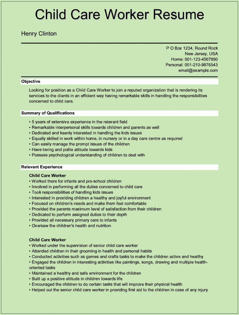 Child Care Job Description Resume Elegant Sample Child Care Worker Resumes For Microsoft Word C Care Jobs Child Care Worker Childcare Jobs Sample resume for child care teacher