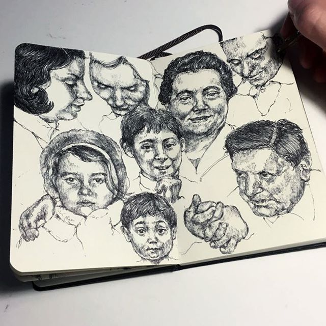 Other 2 pages from my notebook project while a new woodcut is in the making ❕  #art #artist #drawing #sketch #pages #ink #study #practice #composition #pen #ballpoint #ballpointpen #hand #progress #moleskine #notebook #sketchbook #faces #vintage #realism #graphic #illustration #blackandwhite #monochrome #marco