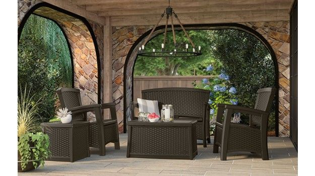 The Suncast ELEMENTS™ Outdoor Furniture Collection is constructed from durable, all-weather resin with a classic wicker design.