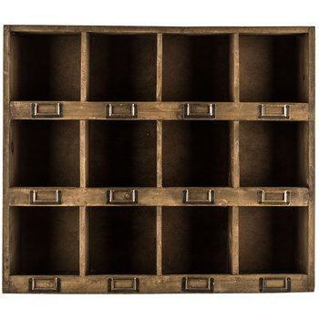 Antique Brown Wooden Wall Shelf With 12 Slots Hobby Lobby 998450 Wooden Wall Shelves Wall Cubbies Wooden Walls