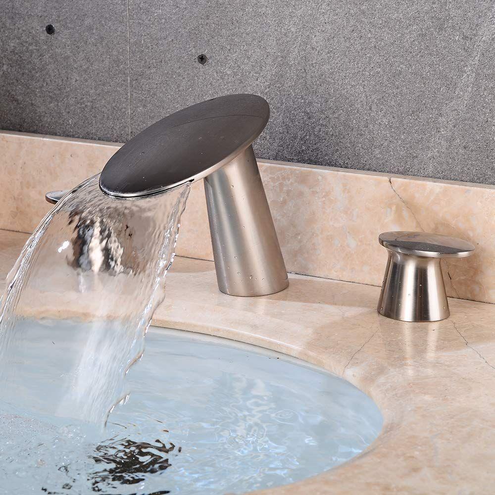 Wovier W 8417 Bn Widespread Bathroom Sink Faucet Brushed Nickel Two Handle Three Hole Bathroom Sink Faucets Faucet Sink