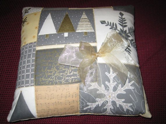 Contemporary Christmas Quilted Pillow