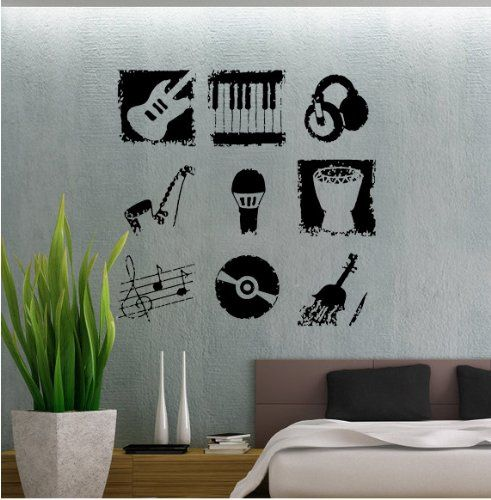 amazon: love of music - vinyl wall decals murals stickers art