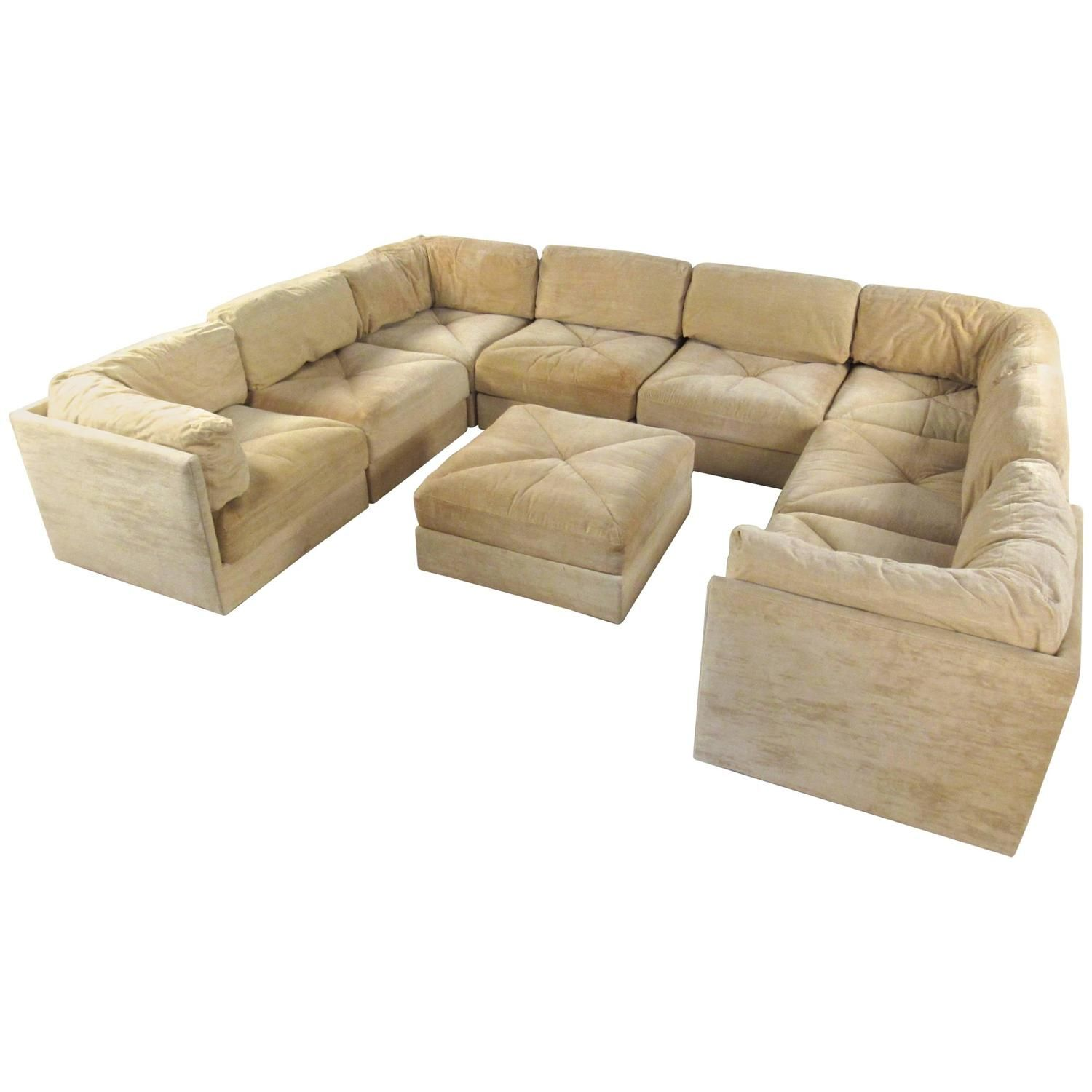 Selig Sectional Sofa with Ottoman Mid Century Modern