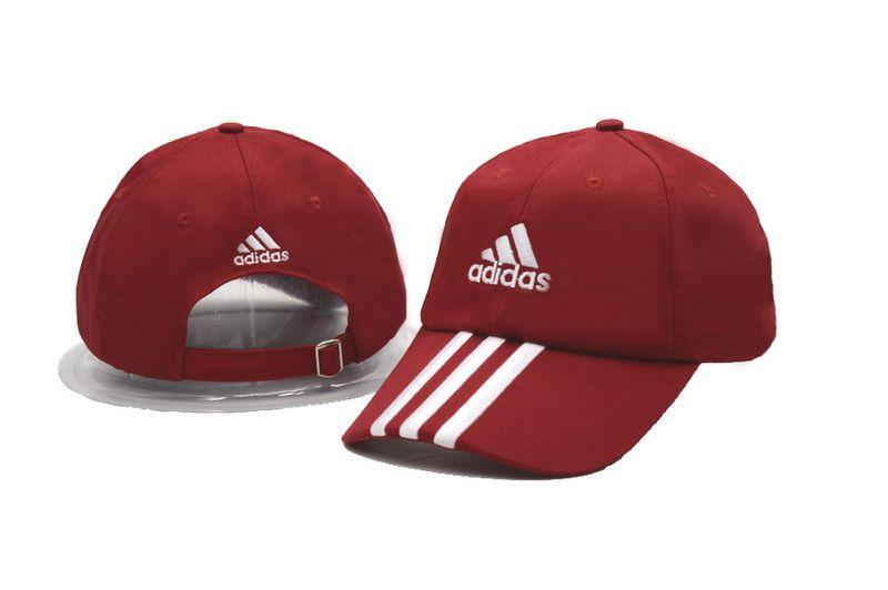 Men s   Women s Adidas Climalite 3-Stripes Curved Brim Adjustable Training  Hat - Red   White f30eb72650b