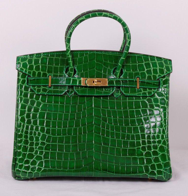 145069afa52f Кожаная сумка Hermes Birkin точная реплика, натуральная кожа, выделка под  крокодила, цвет зеленый. Размер 35х25х18см #19412