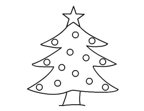Christmas Tree Pictures To Draw And Color For Kindergarten