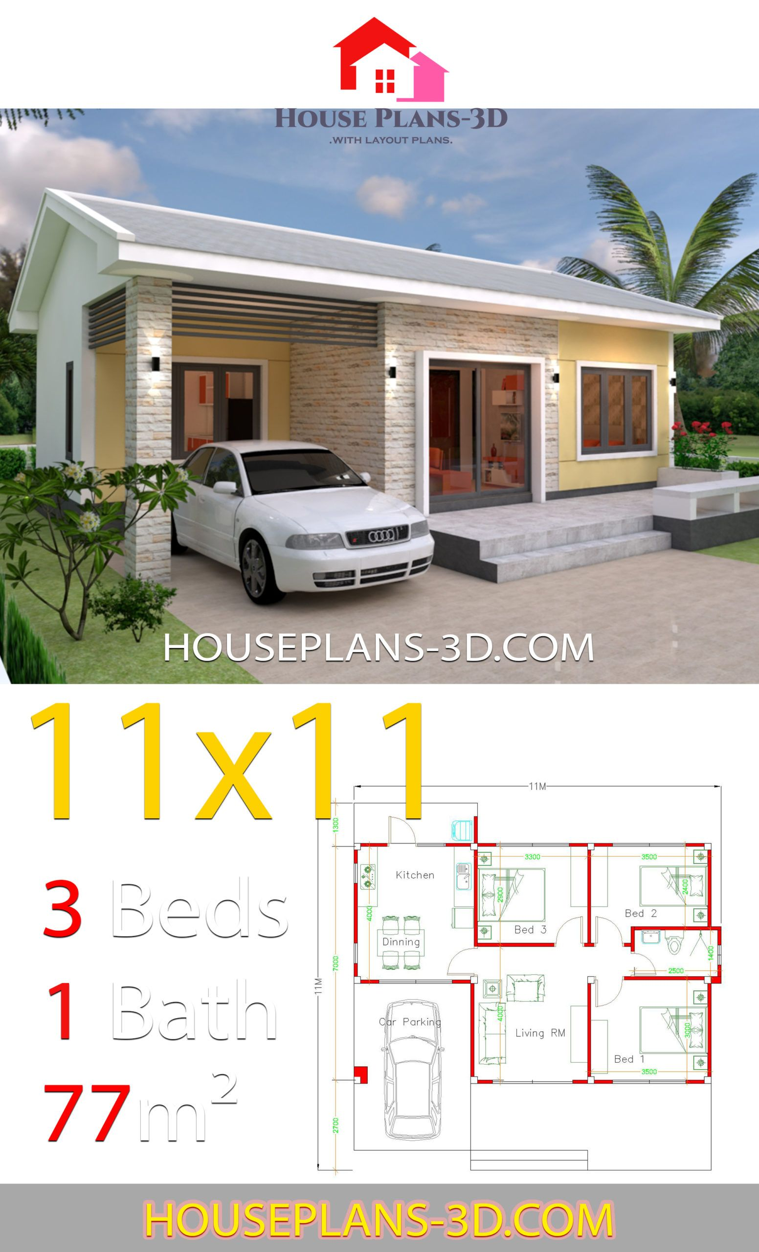 Simple House Design Plans 11x11 With 3 Bedrooms House Plans 3d