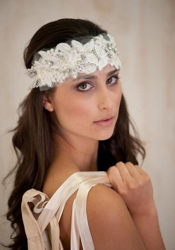 Ivory Bridal Hair Accessories Headband Tiara Wedding Vintage Lace And Rhinestone Band 78 00 Via Etsy