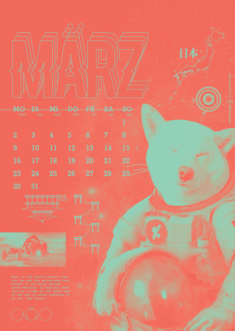 Otavio Santiago Designs A Retrofuturistic Space Themed Pet Calendar For 2020 In 2020 Astronaut Cat Russian Blue Cat Dog Spaces