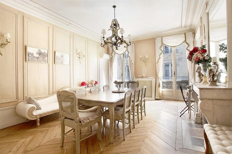 Interior glamorous dining room ideas with french furniture design plus rectangle table and victorian chandelier as well as bench also chevron wood floor