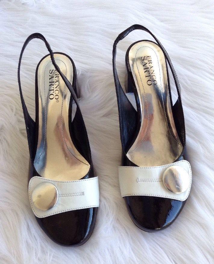 0633094a4ed Franco Sarto Black White Leather Button Low Heels Pumps Shoes Slip on 7 1 2  M  FrancoSarto  Slingbacks  WeartoWork
