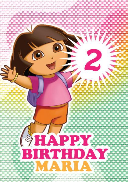 Dora The Explorer Personalised Kids Birthday Card A5 – Personalised Kids Birthday Cards