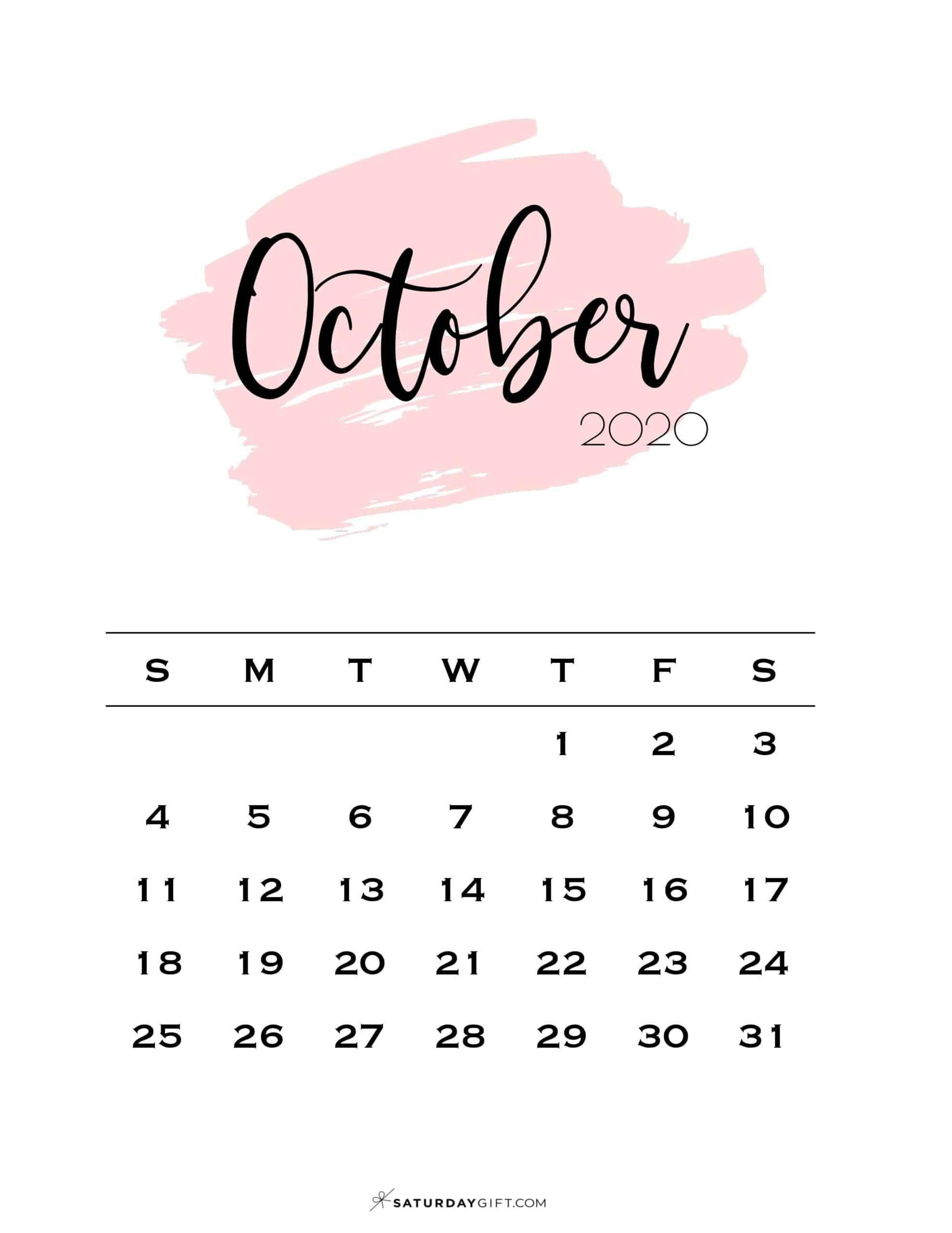 Cute Free Printable October 2021 Calendar Saturdaygift October Calendar Calendar Wallpaper Calendar Printables