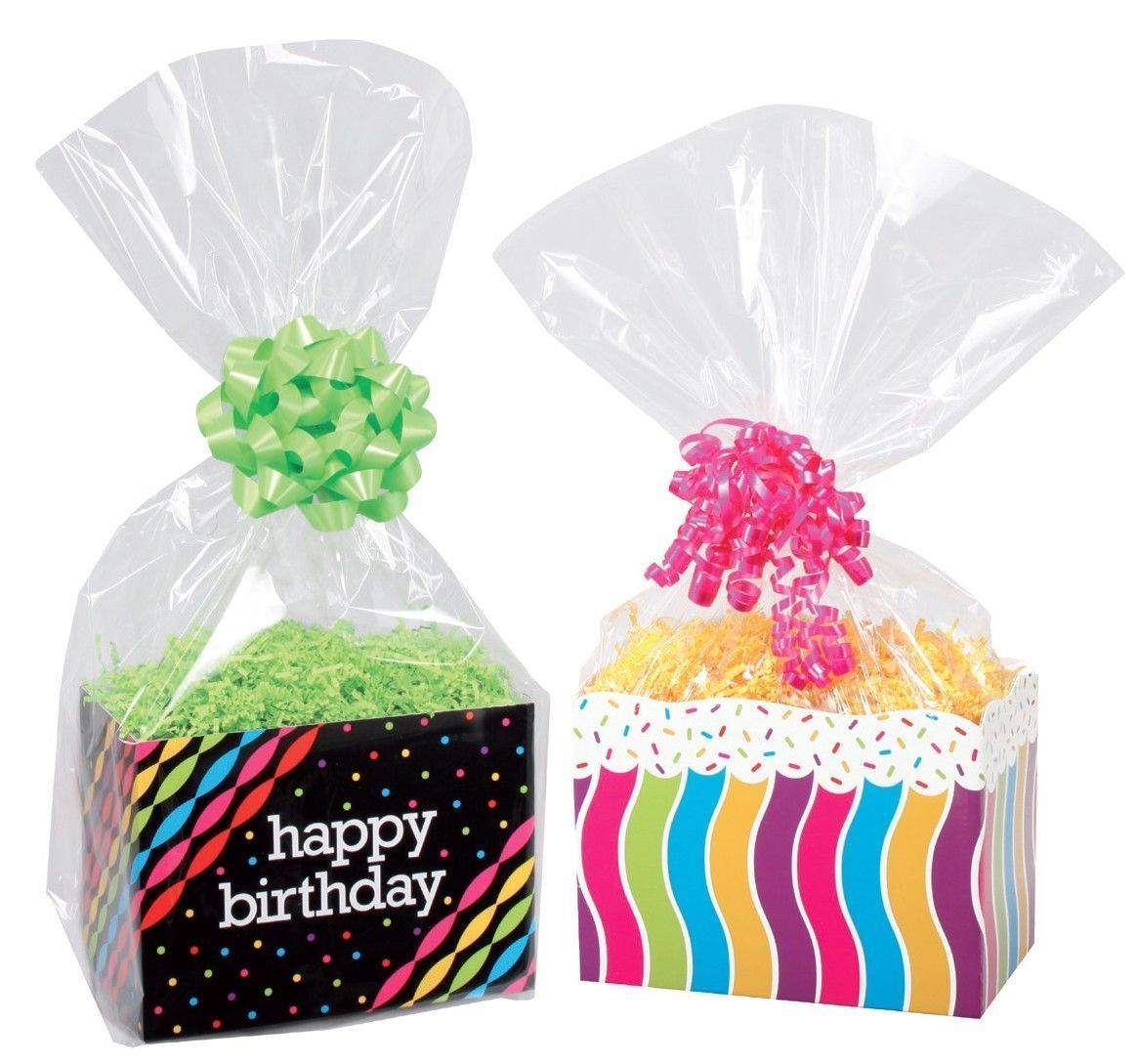 10 Clear Cello Basket Cellophane Bags - Gift Package Flat Gift Bag ...
