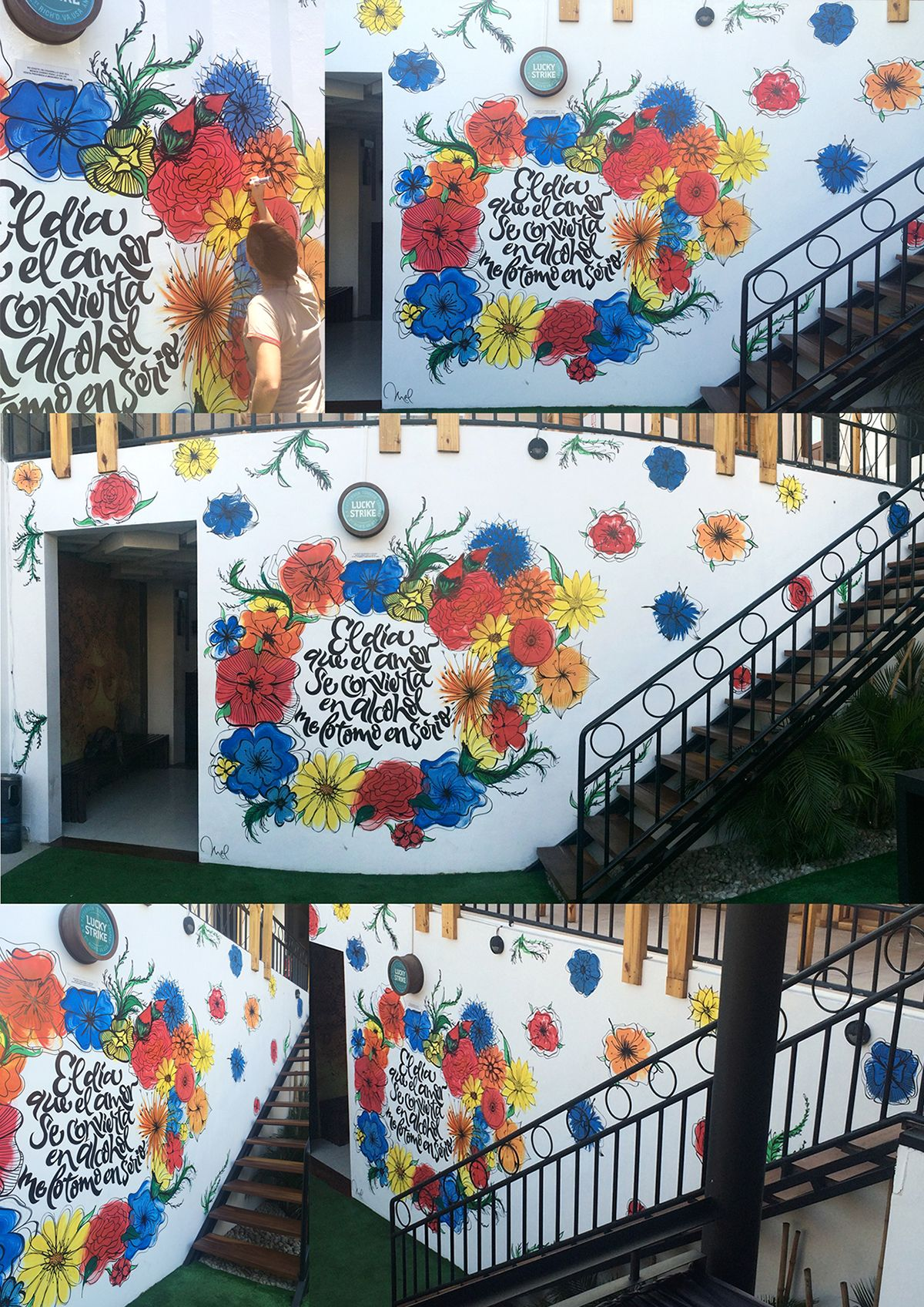 [Mural] Flowers&lettering on Behance