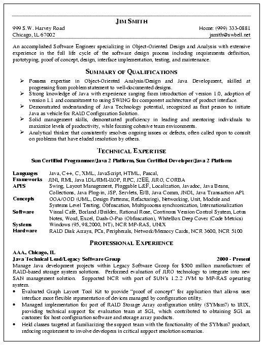 cool Software Engineer Resume Example Software @pin it Internet - java resume sample