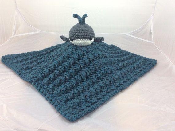 Free Crochet Amigurumi Whale Patterns : Whale lovey security blanket pdf crochet pattern blankie baby