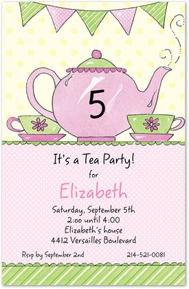 5th Birthday Invitations Tea Pot And Banners