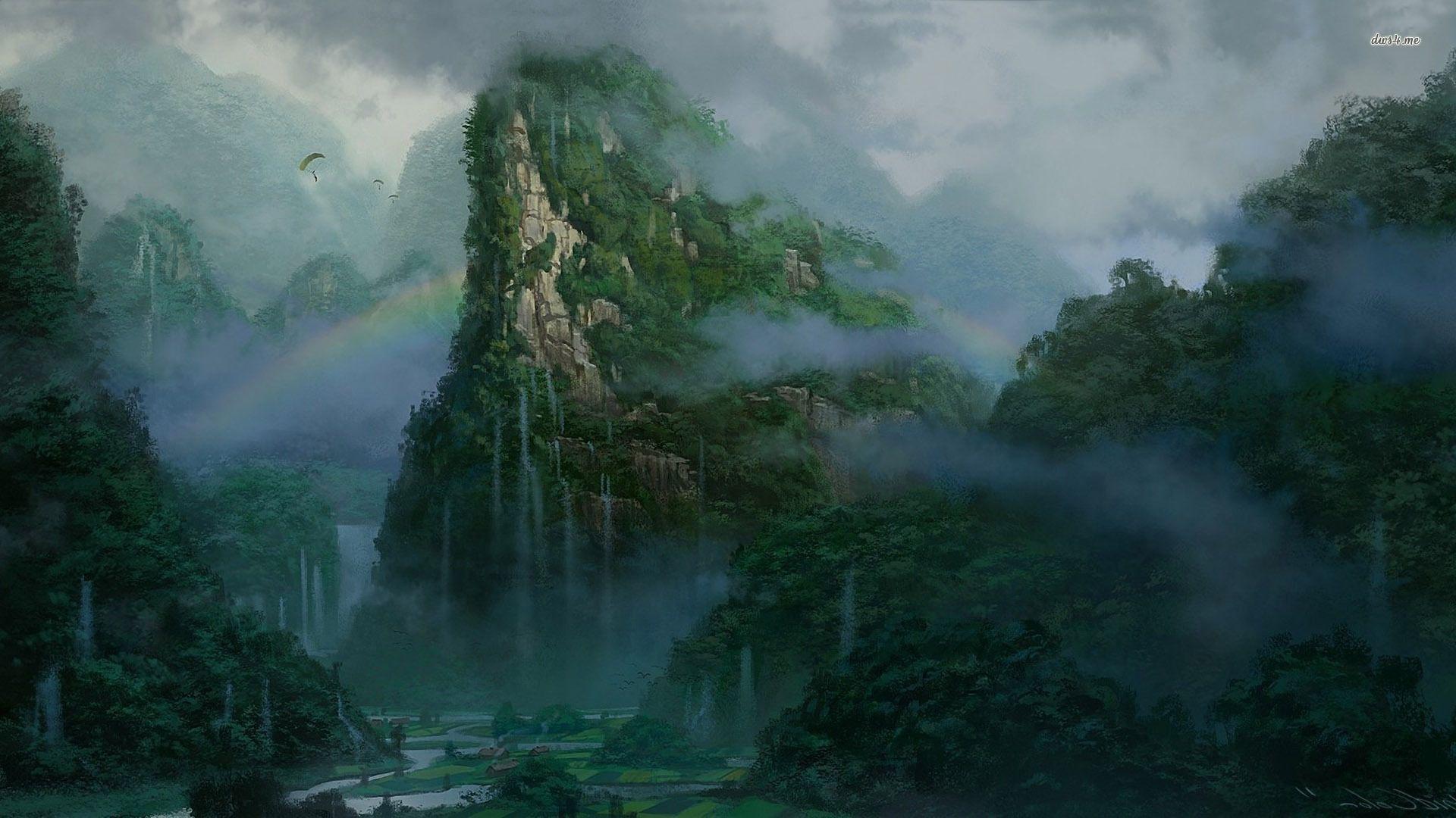Misty alien jungle Nature paintings, Landscape paintings