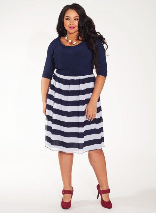 Brittany Plus Size Dress in Bold Azure