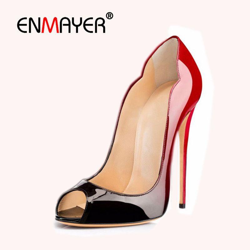 ENMAYER Women High Heels Patent Leather Leopard Pumps Peep Toe Ladies Sexy  Party Shoes Evening Dress 3a52c8816e