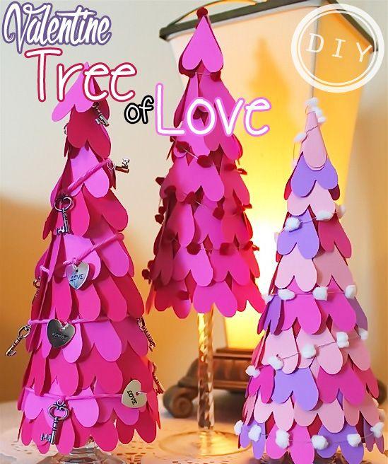 Diy Valentine Tree Of Heart Top Easy Interior Design Craft Decor