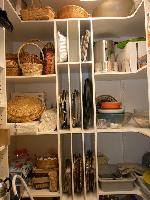 Walk In Kitchen Closet With L ShAped Corner Shelves Via Www.houzz.com