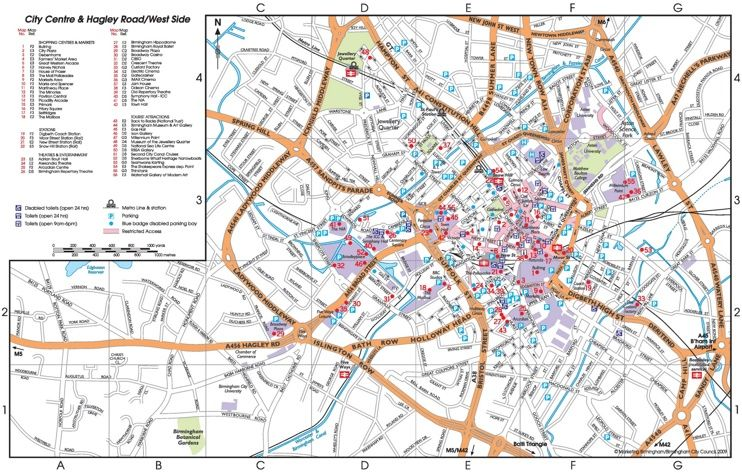Birmingham tourist map Maps Pinterest Tourist map and City