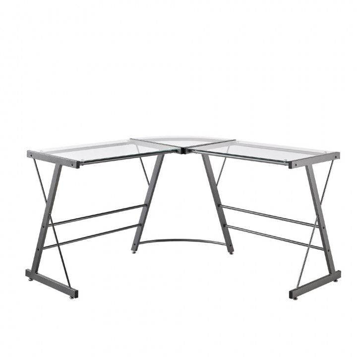L Shaped Glass Desk Ikea Diy Corner Desk Ideas Computer Desk Grey Glass Top Desk Glass Computer Desks