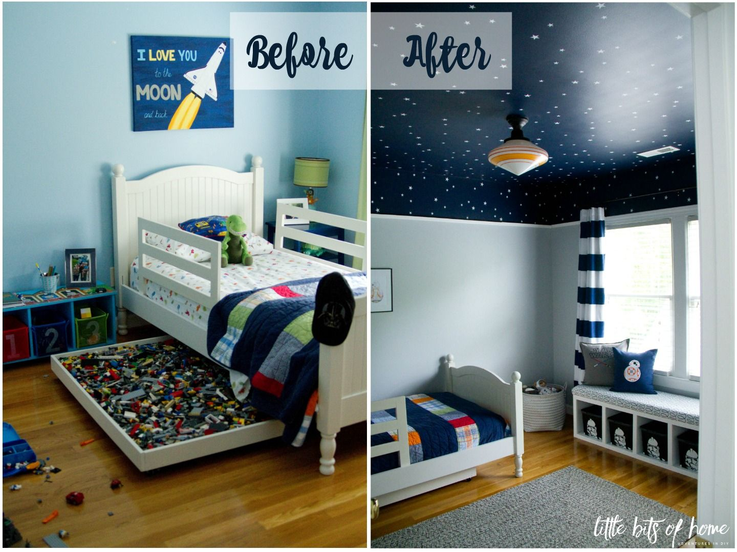 star wars room reveal before after boys rooms and spaces. Black Bedroom Furniture Sets. Home Design Ideas