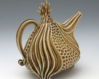 Porcelain urchin teapot in olive green celadon