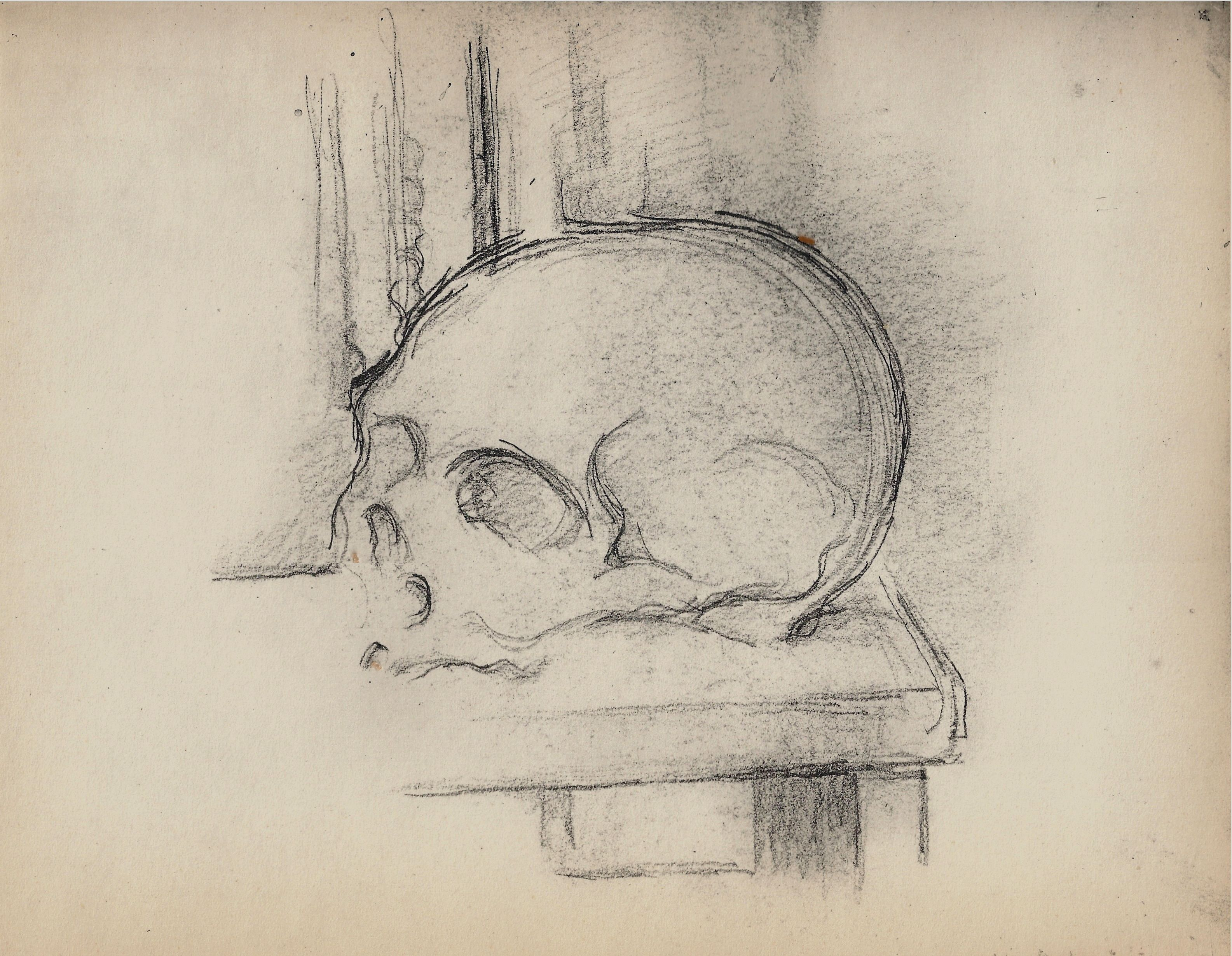Contour Line Drawing Picasso : Cr ne sur une table skull on a paul cezanne drawing sketch