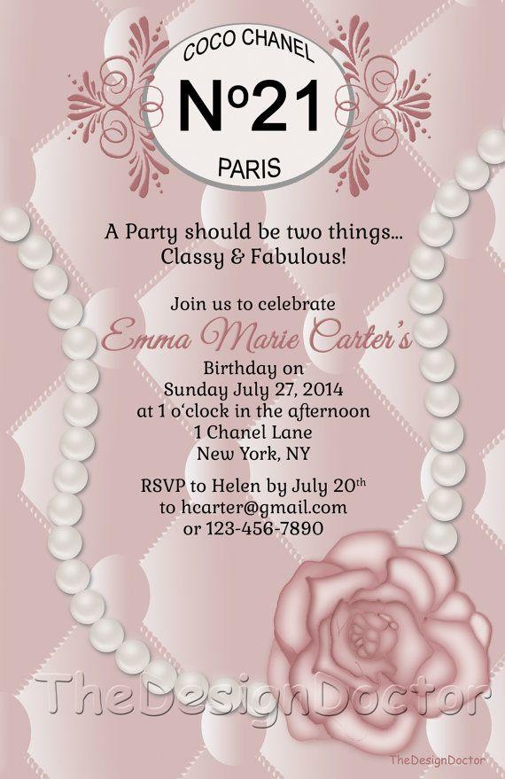 Shabby Chic Classy French Designer Birthday Invitation printable ...
